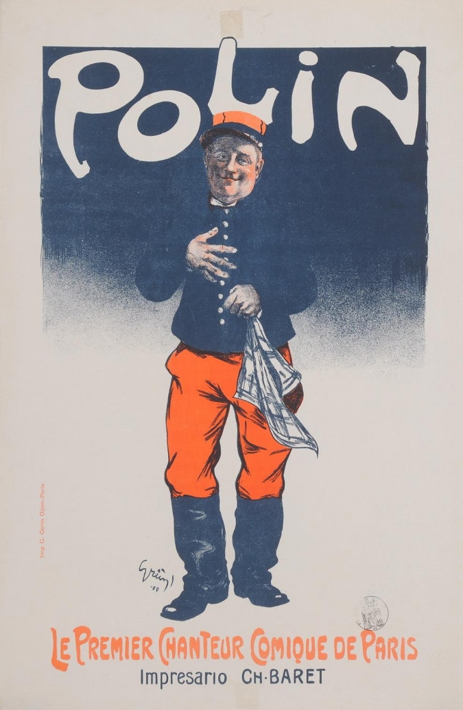 """Original Vintage OVERSIZE French Poster """"Polin"""" by Grun 1900"""