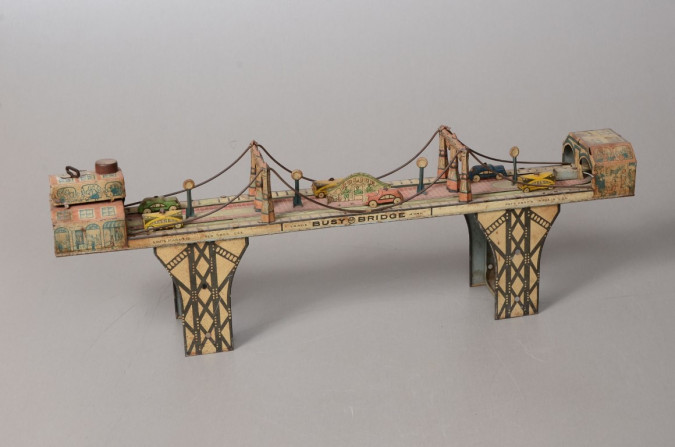 "Original Vintage ""Busy Bridge"" Tin Mechanical Toy 6 Cars by Louis Mark & Co. 1930's"