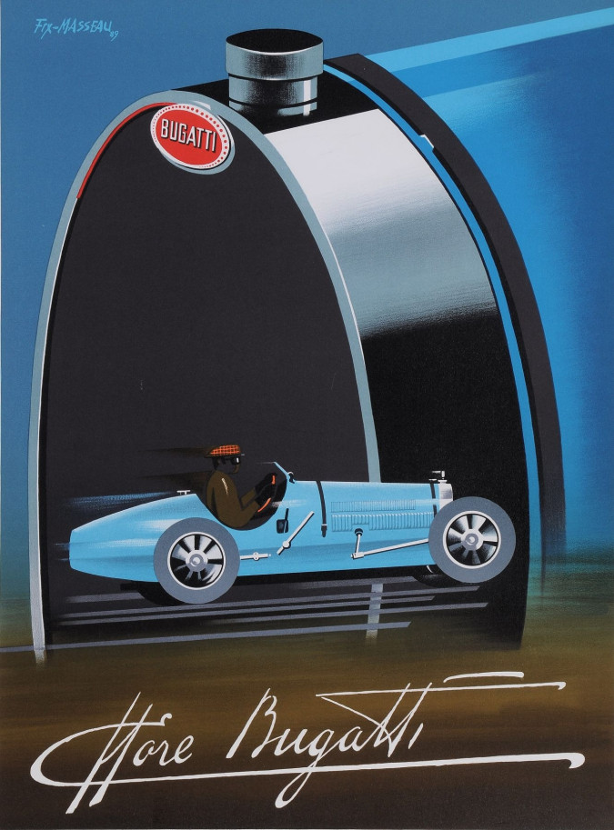 """Original Vintage French Lithograph Poster for """"Bugatti"""" by Fix-masseau"""