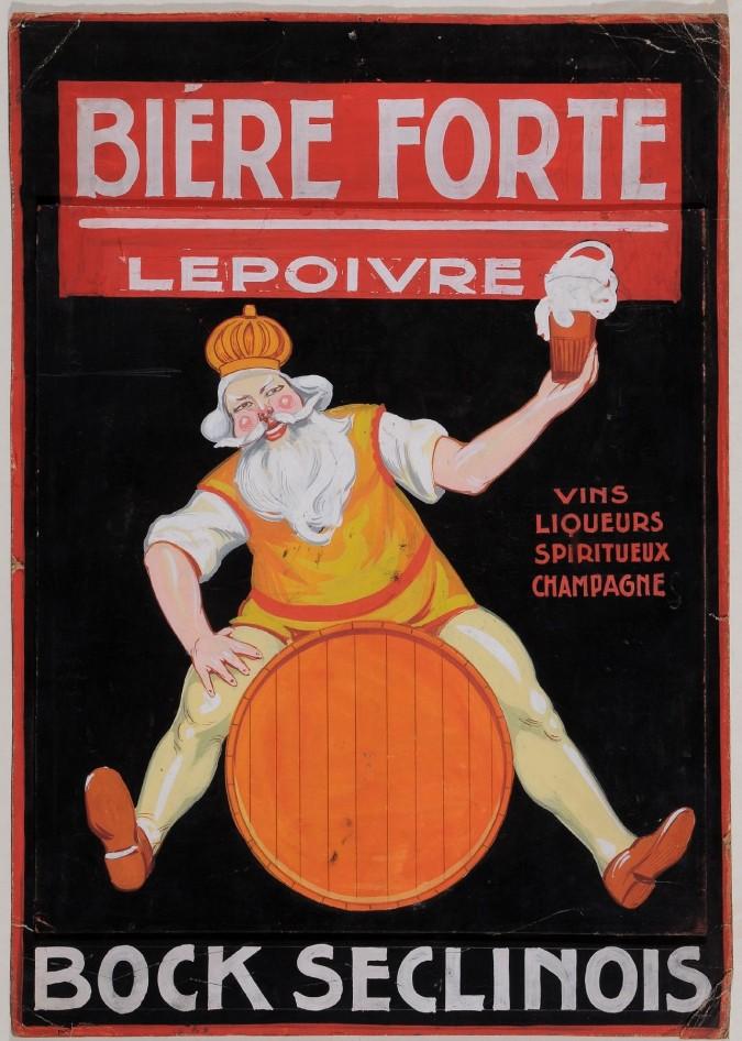 "Original  Advertising Biere Poster Maquette for ""Biere FORTE"" Lepoivre . Original."