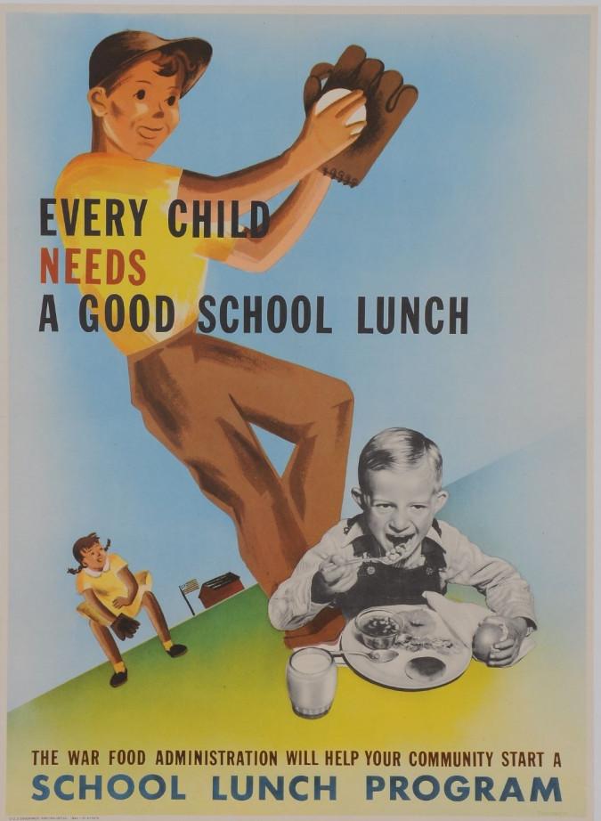 "Original Vintage American Poster for ""School Lunch Program"""