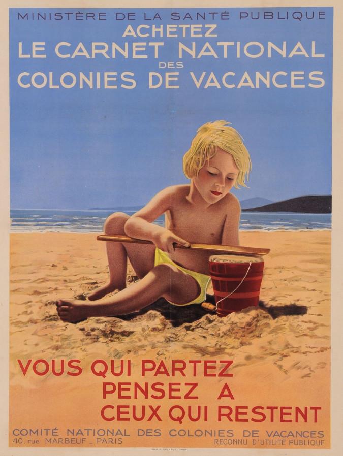Original Vintage French Travel Poster for Achetez le Carnet National des Colonies de Vacances