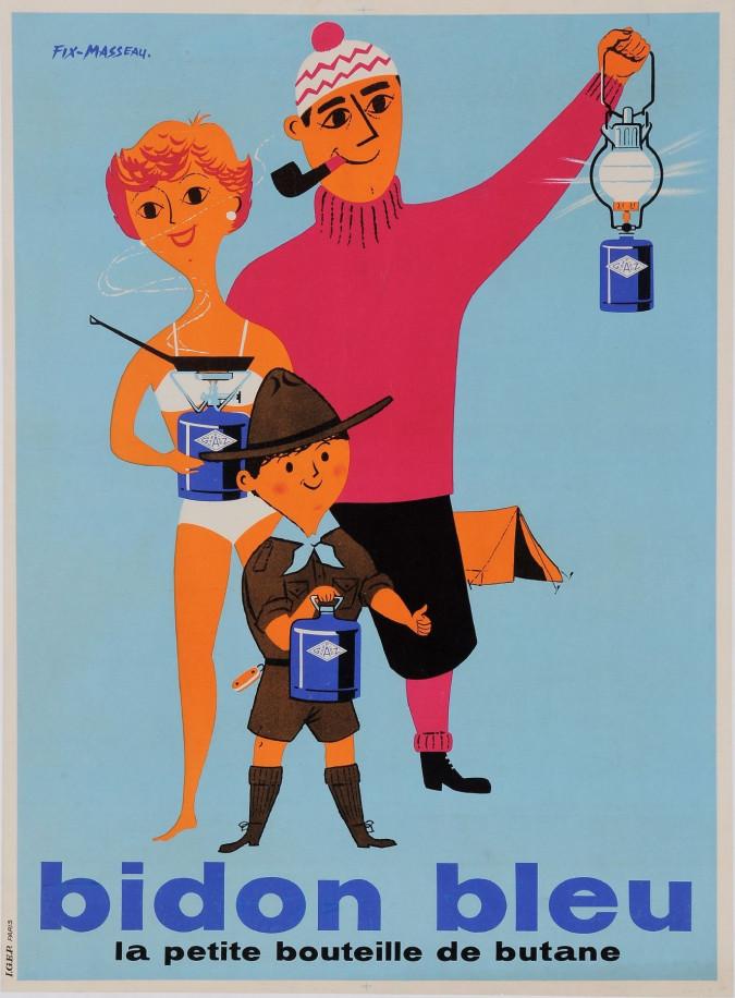 "Original Vintage French Poster for ""Bidon Bleu"""