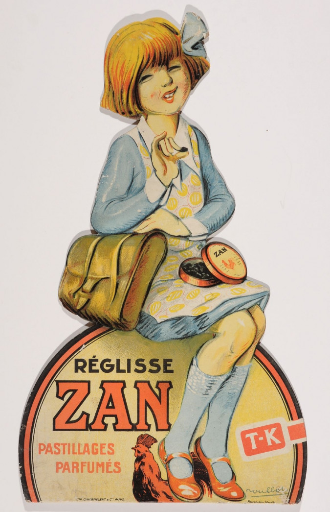 """Original Vintage French Cut Out Poster for """"Zan Pastillages Parfumes""""-Girl"""