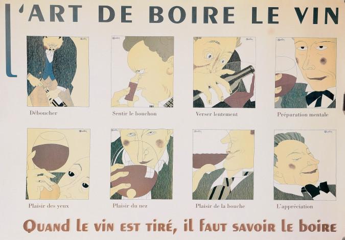 """Original Vintage French Poster """"L' Art de Boire le Vin"""" d'apres Martin"""