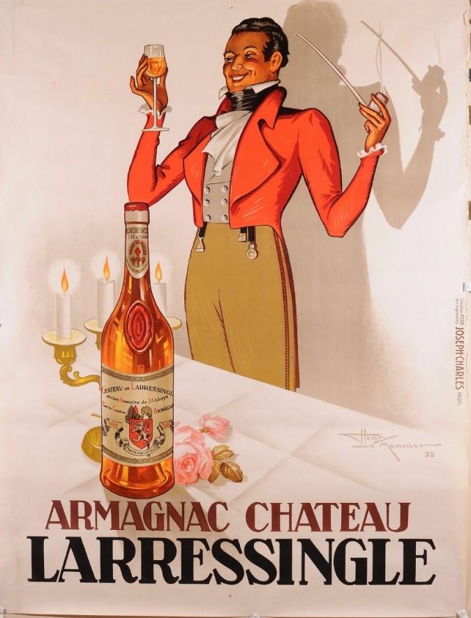 Original Vintage Poster for Armagnac Chateau Larressingle by Henry Le Monnier