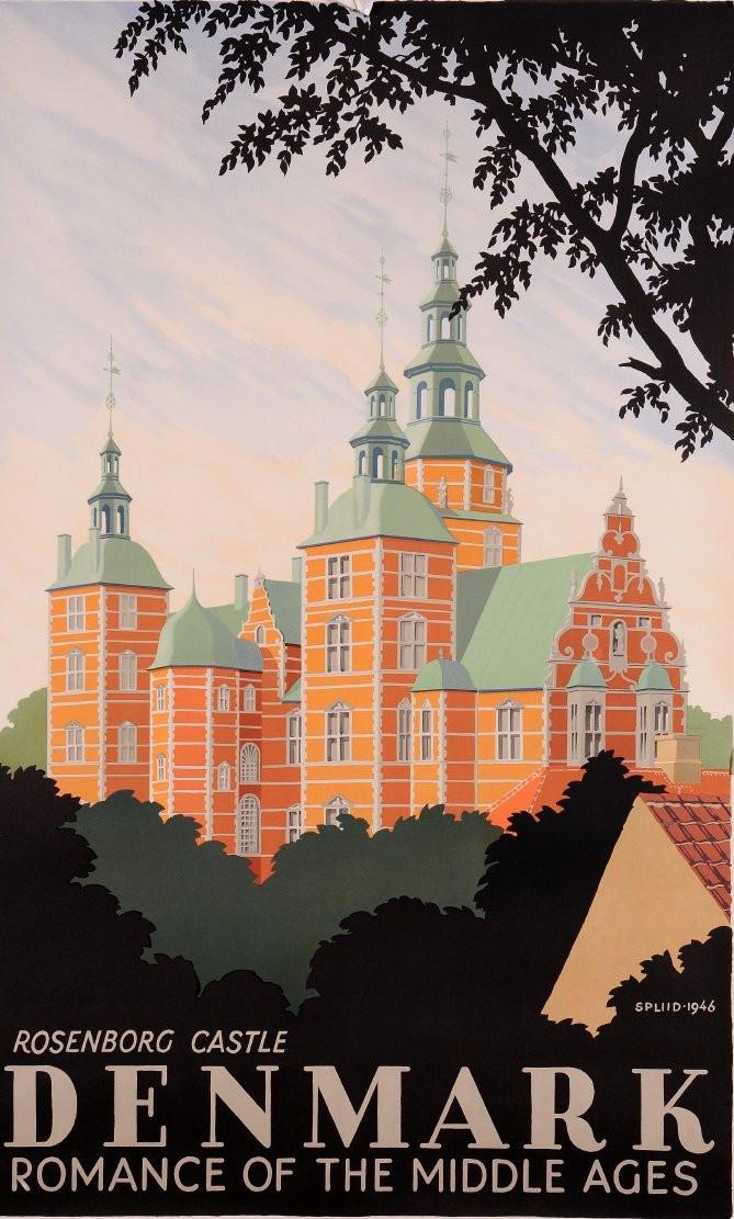 Original Vintage Travel Poster to advertise Denmark