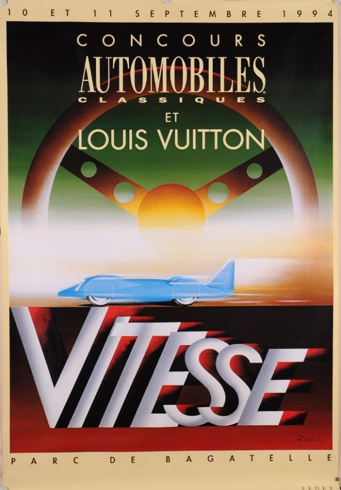 "Original Vintage French Poster for Louis Vuitton  ""Vitesse"" by Razzia"