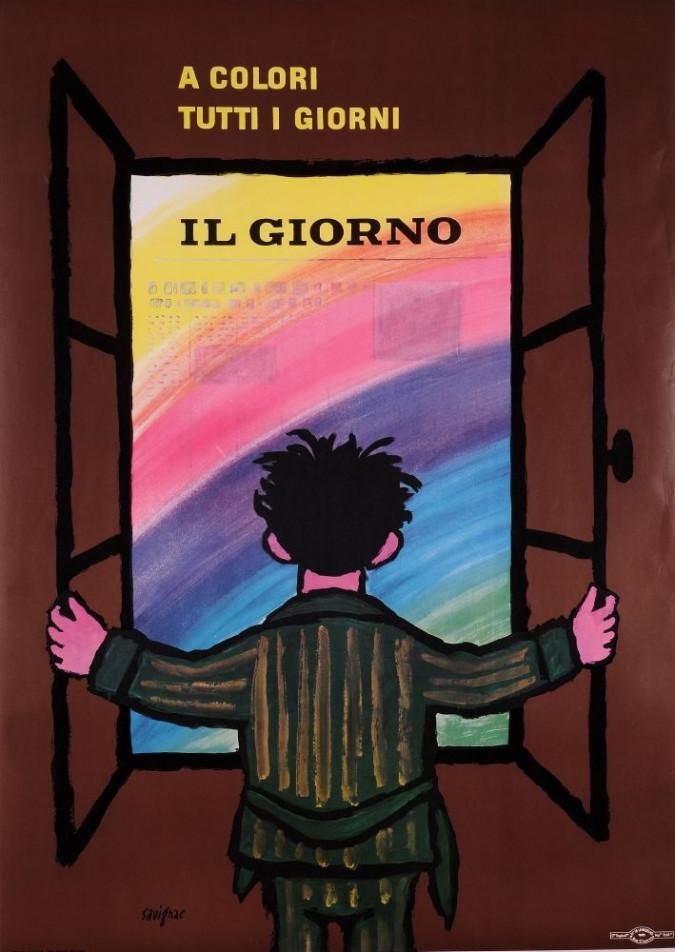 "Original Vintage Italian Newspaper ""IL GIORNO"" by Savignac 1965"