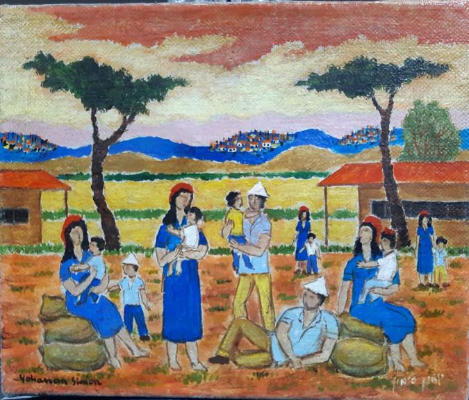 "Yochnan Simon, ""Shabat at the Kibbutz"",oil on canvas 20x24 cm"