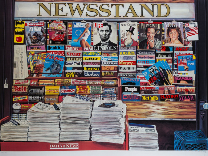 """Ken Keeley (1934-) - """"Newsstand"""", hand-signed limited edition serigraph"""