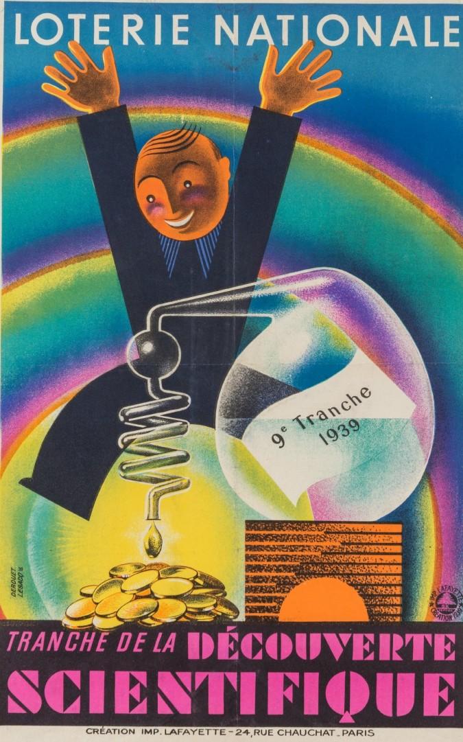 Original Vintage French Poster for Loterie Nationale  - Scientifique by Derouet Lesacq