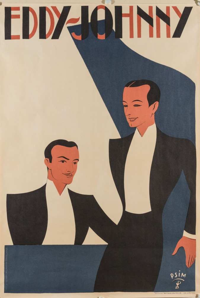 Vintage French REPRINT Lithograph Poster For EDDY and JOHNNY 1990's