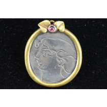 Vintage Silver and Gold-plated Oval Pin Brooch Pendant Etching Woman Portrait Leaves Gemstone