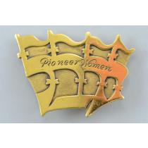 Ludwig Wolpert Gold Plated Brooch Pin Pioneer Woman ISRAEL Jubilee Fiftieth Anniversary