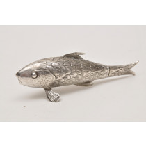 Polish Silver Fish-shaped Spice Container, 19th century. The tail could be opened for spice insertion.