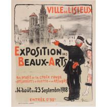 """Original Vintage French Poster """"Ville de Lisieux - Exposition des Beaux-Arts"""" by Grun 1918"""