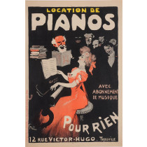 """Original Vintage French Poster """"Trouville - Location de Pianos"""" by Grun"""