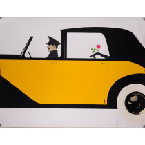 "Original Art Deco Lithograph ""Rose de Bagatelle - Yellow Car""- Signed & Numbered"