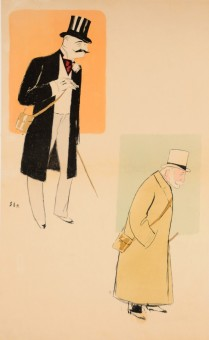 Original Color Lithogrpah - Caricature of Paris Bourgeois by SEM c. 1910