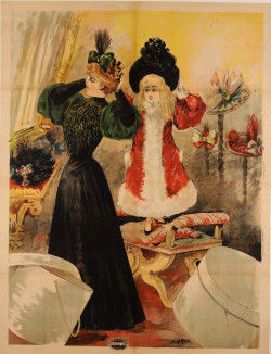 Original Poster before letter by GRAY Mother and her Daughter Trying Hats