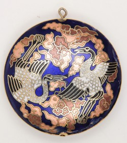 Vintage Antique Japanese Blue Pendant Niello Cranes