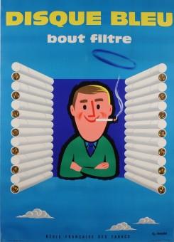 Original Vintage French Poster for Disque Bleu Cigarettes by Fix-Masseau 1950's