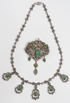 19Th Century Russian 56 Gold Brooch & Necklace, Set With Dozens of Diamonds and Emeralds.