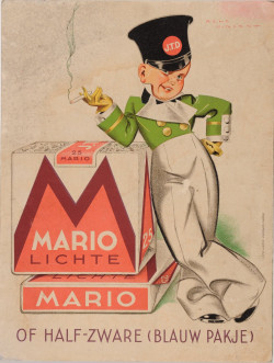 Original Vintage French Poster/Card for Mario Lichte Cigarette by Rene Vincent