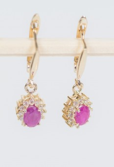 One Pair of 14 K Yellow Gold Earring Set With Diamonds and Rubies
