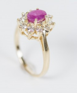Gold 14 Karat Ring Set with Large Ruby and Diamonds. Size  7.5