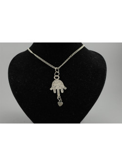 Sterling Silver Hand Hamsa Good Luck Charm Pendant from Israel