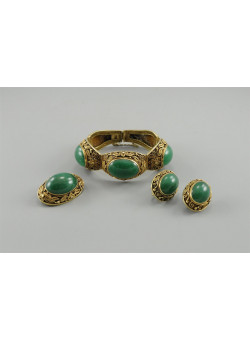 Antique Chinese Green Jade Silver Filigree - Set of Bracelet Earrings & Brooch