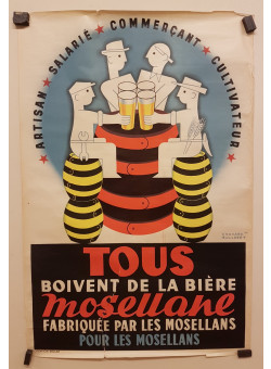 """Original Vintage French Poster """"Mosellane"""" Biere by Bollaert 1950"""