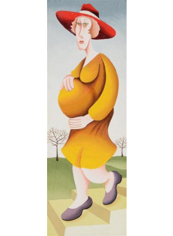 "Original Israeli Art Signed Painting ""The Pregnant Women"" Series - Yuval Mahler"