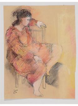 Original Signed Israeli Art Figurative Pastel Drawing on Paper by BATYA MAGAL