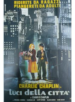 """Original Vintage Italian Movie Chaplin Poster """"Luci Della Citta"""" Modern Times 1950's"""