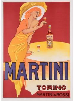 """Original Vintage Italian Poster """"MARTINI TORINO ROSSI"""" Dudovich 1950"""
