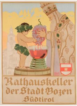 Original Vintage Austrian WINE Ad Poster STOLZ ALBERT ART