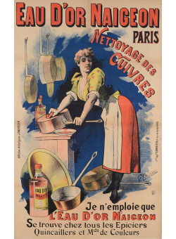 """Original Vintage French Ad Poster """"Eau D'Or Naigeon"""" by Choubrac Ca. 1900"""