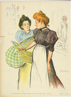 """Original lithograph by Théophile Steinlen from the Magazine """"Le Rire"""" circa 1900"""