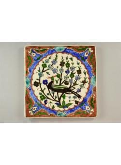 Antique Armenian Tile Drawing Bird on Tree Palestine 1940's 21X21 cm