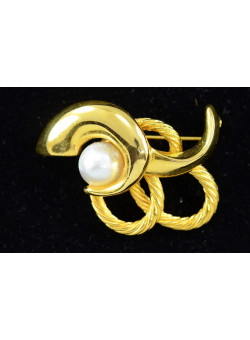 Vintage Gold-tone Costume Jewellry Brooch Pin with Faux Pearl Mad Men Style