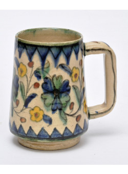 Antique Armenian Ceramic Mug Yellow Flowers Palestine The Joint Workshop