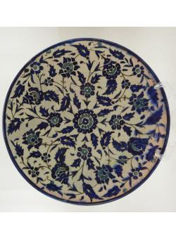 Antique Large Armenian Artisan Plate Palestine The Joint Workshop Blue Cobalt