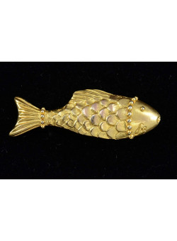 Gold Tone Fish Costume Pin Brooch