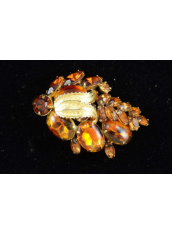 Costume Jewellry Gold-tone Brooch pin with Smoky Brown Rhinestones