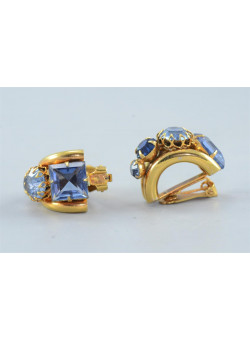 Vintage Mad Men Style Costume Jewelry Gold-tone with Blue Rhinestones Clip-on Earrings