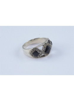 Artisan Art Deco Style Silver Women Onyx Ring Size 10