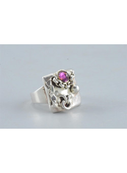 Signed Artisan Sterling 925 Israeli Silver Re-sizable Ethnic Ring with Purple Stone